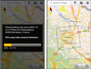 Google Maps pour Android permet de télécharger des bouts de cartes sur son cellulaire.