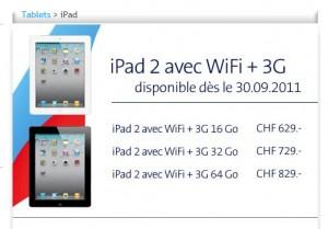L'iPad 2 chez Swisscom.