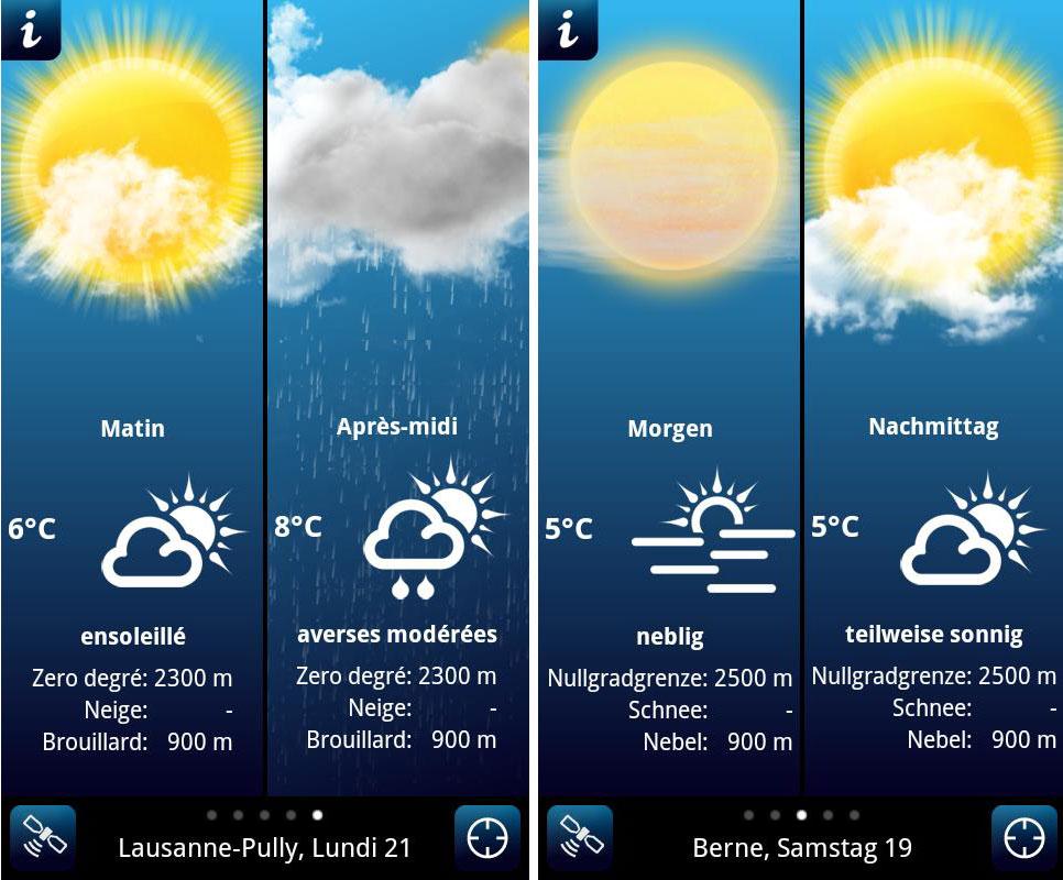 La météo pour la suisse par id mobile