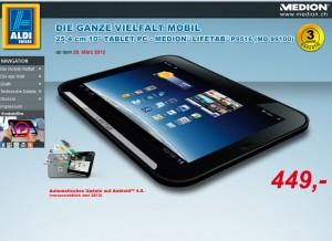 Une tablette Medion 3G chez Aldi? 449 francs...
