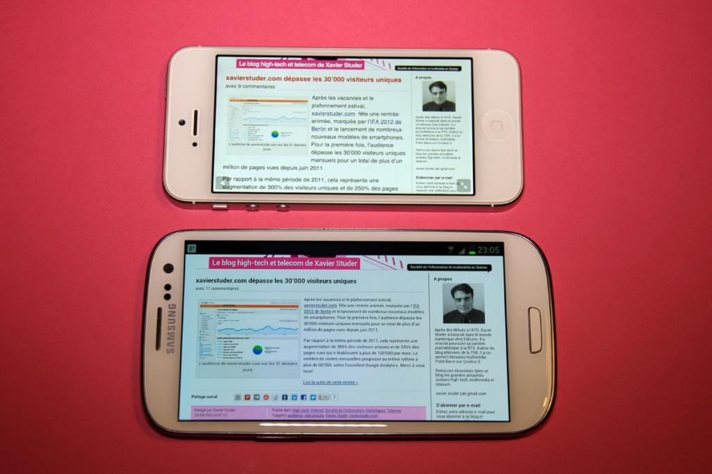 Samsung Galaxy SIII vs Apple iPhone 5: des écrans plus ou moins réussis...