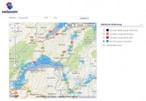 La couverture 4G/LTE de Swisscom sur les cantons de Vaud et Genève.