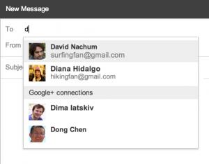Les contacts de Google+ dans Gmail.