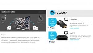 Teleboy fait une promo sur l'Apple TV et le Chromecast.