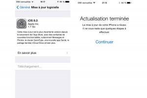 Mise à jour vers iOS8: environ deux heures.