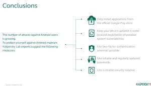 Kaspersky recommande de télécharger les applications depuis le Google Play Store...