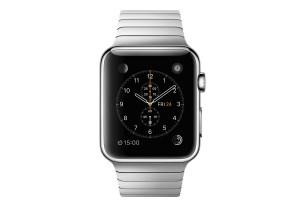 L'Apple Watch avec un bracelet à maillons en acier. Prix: 1119 francs.