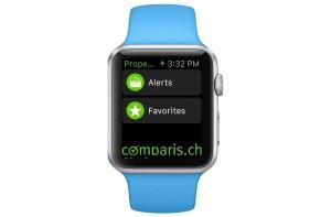 Comparis propose une application pour l'Apple Watch.